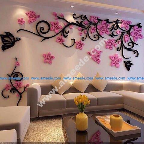 3D Flower Acrylic wall stickers butterflies dancing