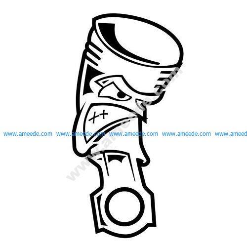 Angry Piston JDM Car Vinyl Sticker Decal