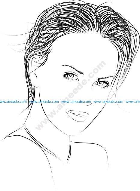 Black Line Woman Vector Art