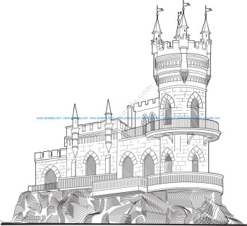 Castle Vector line drawing vector art