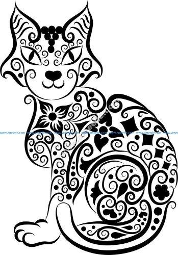 Cat Vector Line Art