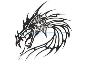 Chinese Dragon Head Tattoo Vector