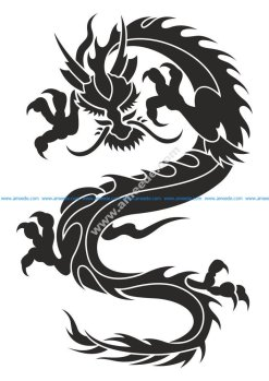 Chinese Dragon Silhouette Tattoo Tribal Vector