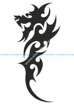 Chinese Tribal Dragon Tattoo Vector