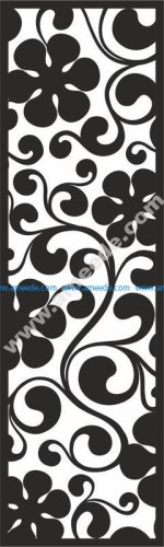 Curl with big Black Flowers Pattern