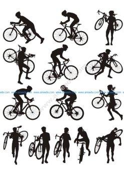 Cyclocross racing vector silhouette