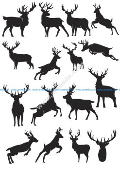 Deer Silhouette Vector Collection