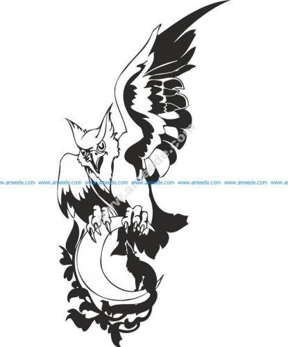 Eagle Wolf Moon Vector