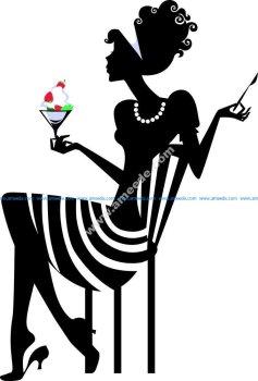Elegant Woman Silhouette Vector