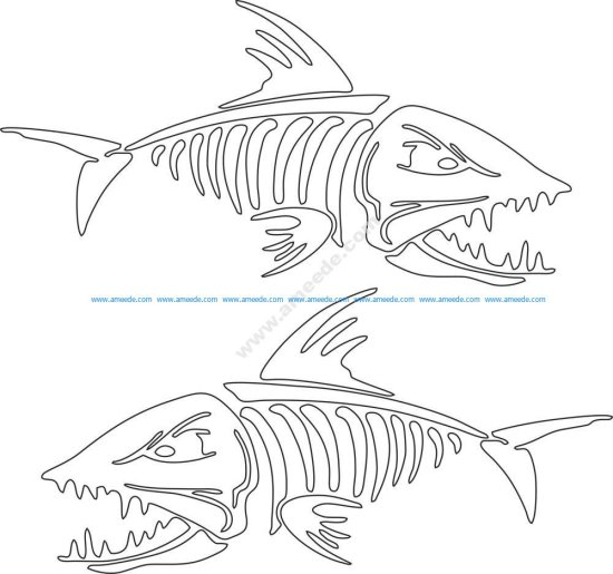 Fish Skeleton Vector Art
