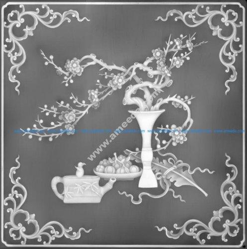 Floral Decorative Grayscale BMP File