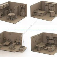 Furniture Set Doll House Mdf Laser Cut