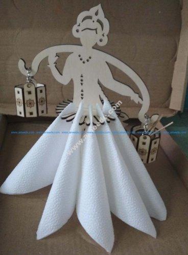 Girl Napkin Holder Decorative Woman Design