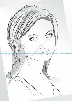 Girl in Sketch Lines