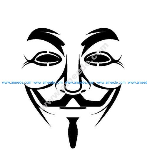 Guy Fawkes mask stencil vector