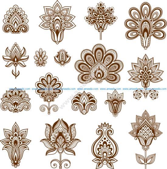 Henna Set of ornamental stylized flowers