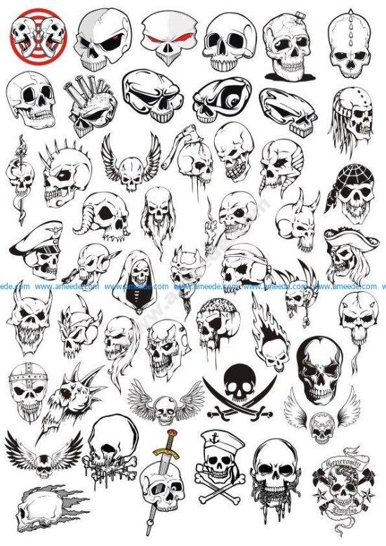Horror Halloween Skulls Vector Set