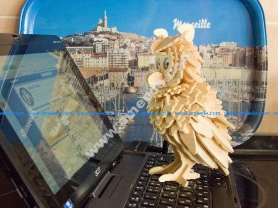 Lasercut Plywood Owl 3D Puzzle Pattern