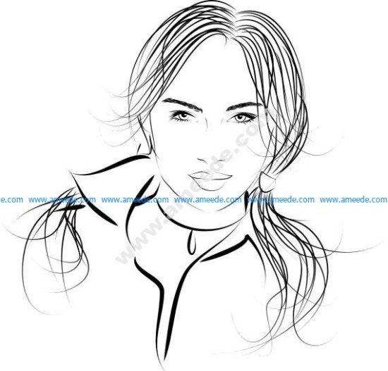 Long Haired Beautiful Woman Vector