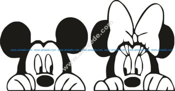 Mickey and Minnie mouse slihouette vector