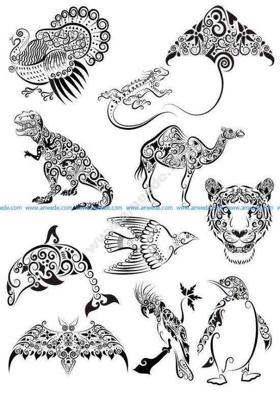 Ornament Animals Tattoo Vectors Pack
