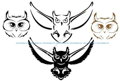Owl Silhouette Vectors