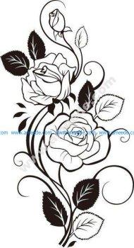 Rose Vine Drawing Vector Art