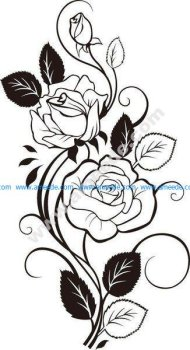 Rose Vine Drawing Vector Art