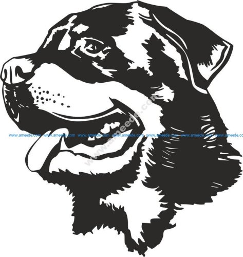 Rottweiler Dog Head Black White Vector