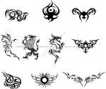 Silhouette Dragon Tattoo Vector Set