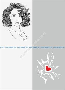Sketch Of Stylish Young Girl Sandblast Pattern