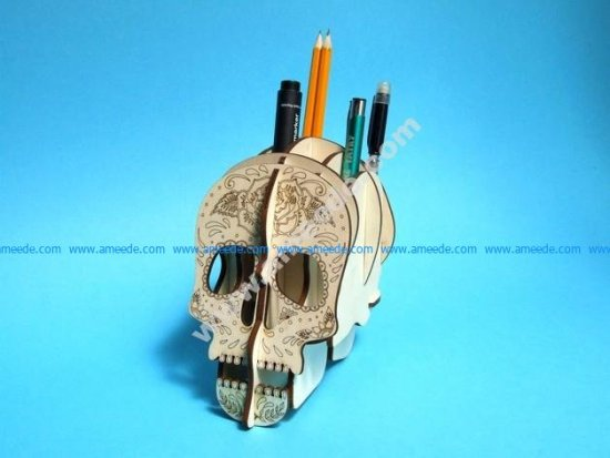 Skull 3D Plywood Pen Holder