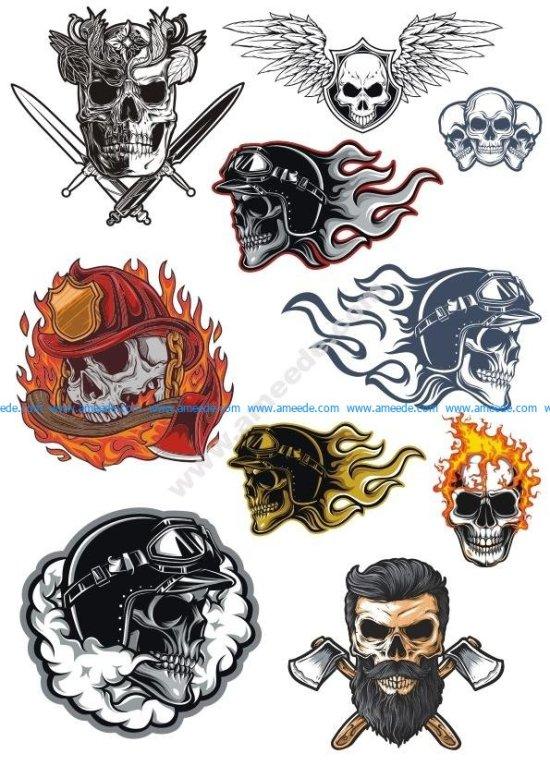 Skull Illustration Vector Art Set
