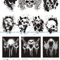 Skull T-shirt designs logos vector set