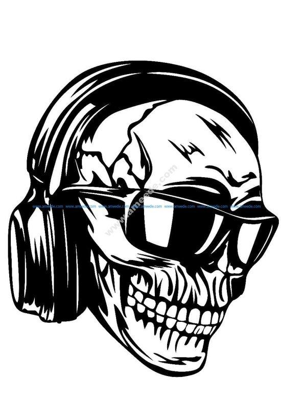 Skull headphones sunglasses vector art