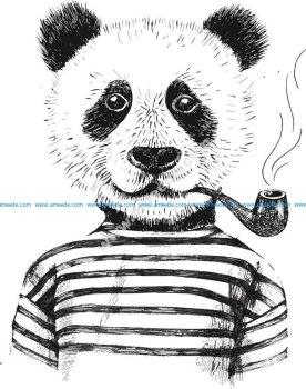 Smoking Panda Vector Art