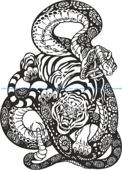 Snake And Tiger Fight Vector Art