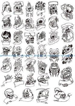 Terror Skull Head Vector Illustration