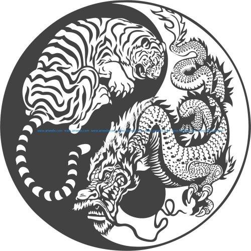 Tiger Dragon Yin Yang Vector Art