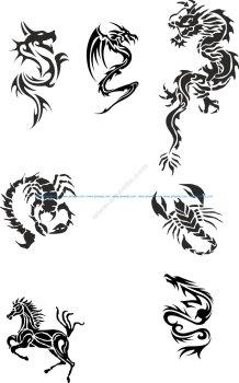 Tribal Dragon Tattoo Designs Vector Pack