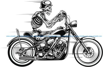 Vector Skull Motorcycle