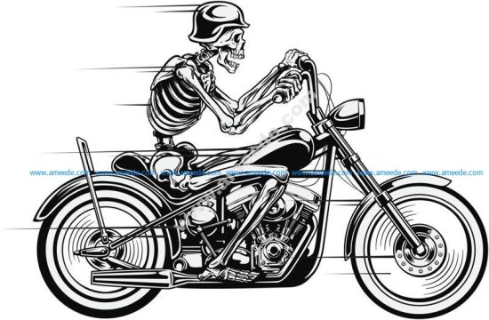Vector Skull Motorcycle