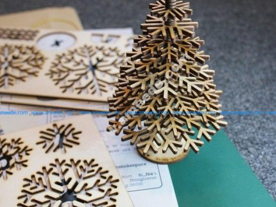 Lasercut design files for snowflake Christmas tree