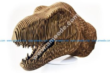 Laser Cut Cardboard Model of a T-Rex Head