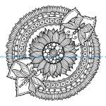 Mandala a colorier gratuit tournesol et papillons