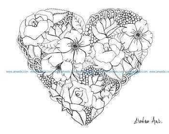 Mandala a imprimer elanise fleurs dans un coeur