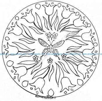 Mandala gratuit papillon et fleurs