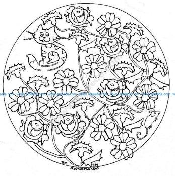 Mandala gratuit roses et chat