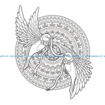 Mandala hirondelles et ruban