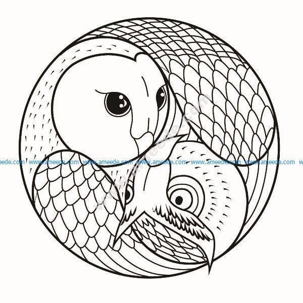 Mandala simple hibou et chouette